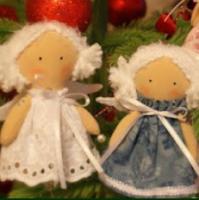 Текстильные ангелочки на ёлку