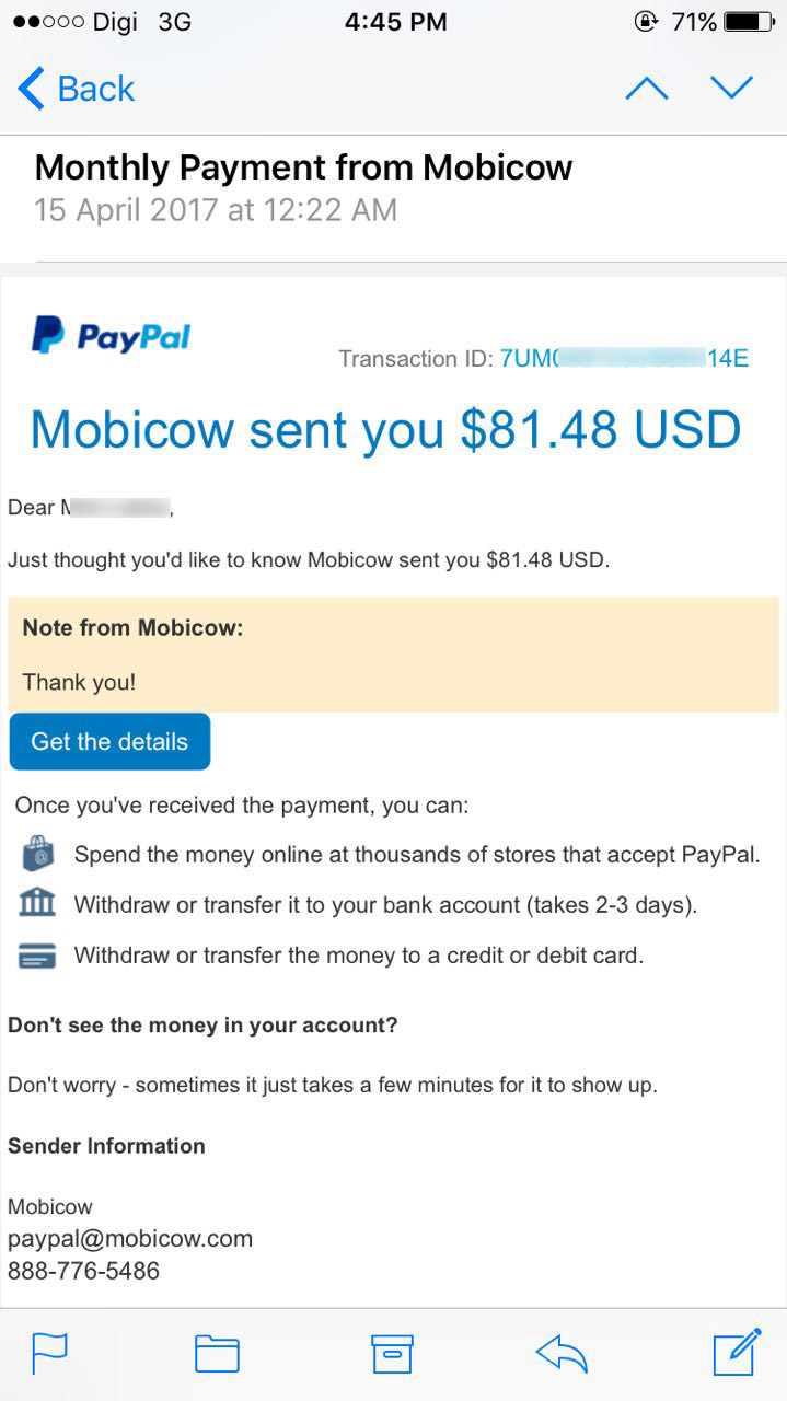 Income Mobicow March