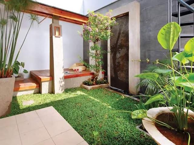 Taman Rumah Minimalis belakang rumah berumput segar