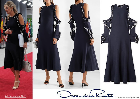 Queen Maxima wore OSCAR DE LA RENTA Cold-shoulder ruffled wool mid dress