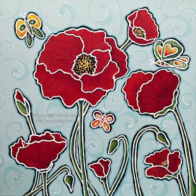 7 Red Poppies Mixed Media