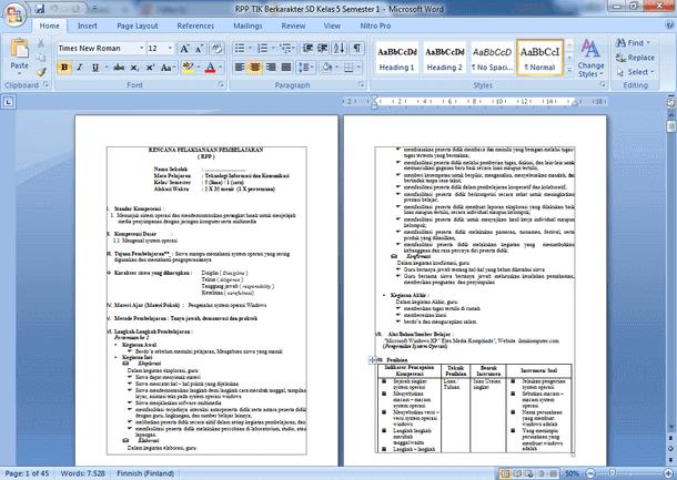 Contoh RPP TIK Berkarakter SD MI Kelas 5 Semester 1 dan 2