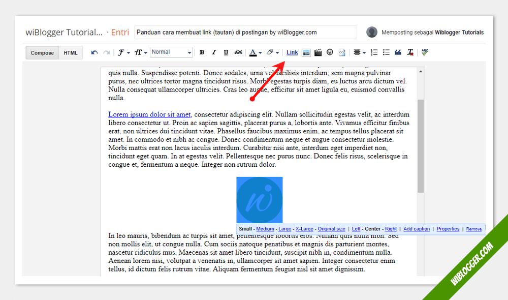 Cara membuat link di postingan