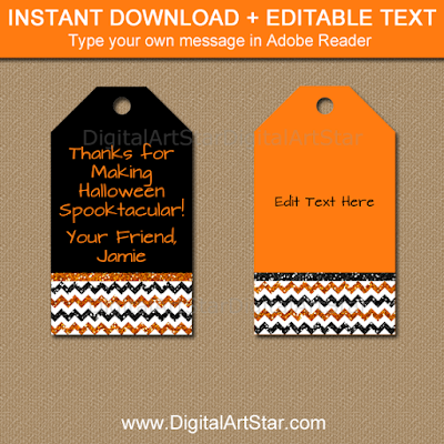 halloween tags with glitter chevron to use as gift tags and thank you tags