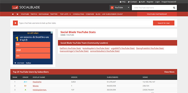 socialblade - tips in hindi