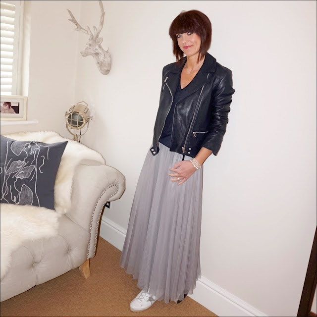 My Midlife Fashion, massimo dutti leather biker jacket, j crew vintage cotton v neck t shirt, marks and spencer tulle maxi skirt, golden goose superstar low top leather trainers