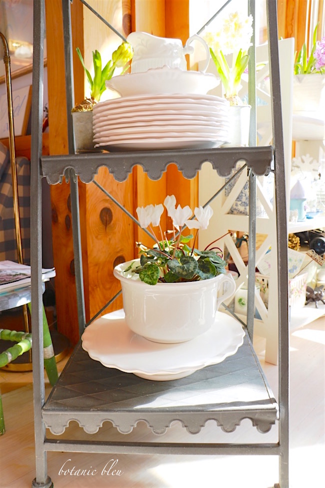french-style-plant-stand-holds-white-dishes-and-plants