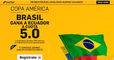 betfair Brasil gana Ecuador supercuota 5 Copa America 5 junio
