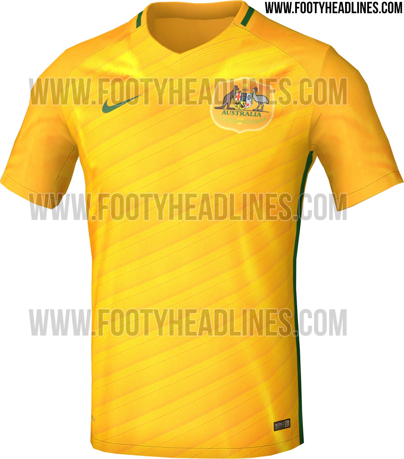 2c4bb88049f Unlike the new 2016 jerseys of the likes of England, France and the United  States, the new Australia home kit is not based on Nike's new Vapor kit  template.