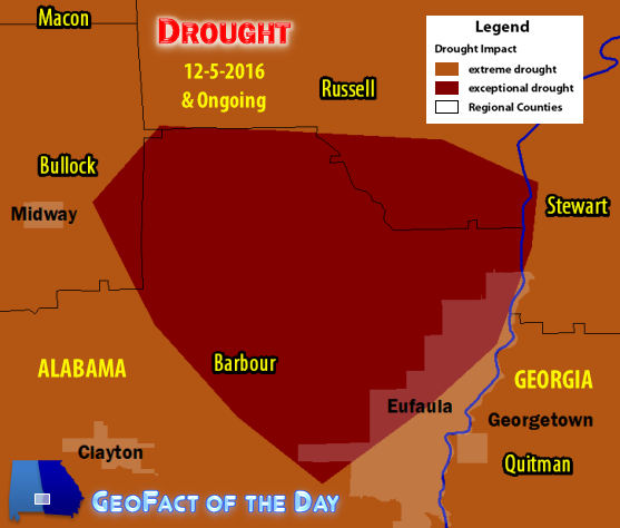 Drought map of Barbour, Bullock, and Russell counties (Alabama) and Quitman County (Georgia), December 7th, 2016