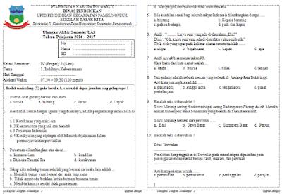 Soal UAS Kurikulum 2013 Kelas 4 Tema 1, 2, 3 Semester 1