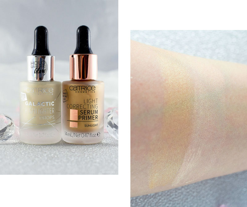 Catrice Galactic Highlighter Drops und Light Correcting Serum Primer, Catrice Neues Sortiment Frühjahr Sommer 2018, Review, Swatch