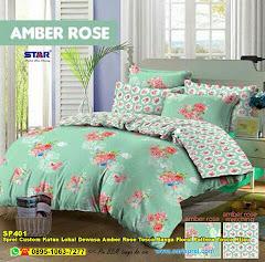 Sprei Custom Katun Lokal Dewasa Amber Rose Tosca Bunga Floral Pattern Tosca Hijau
