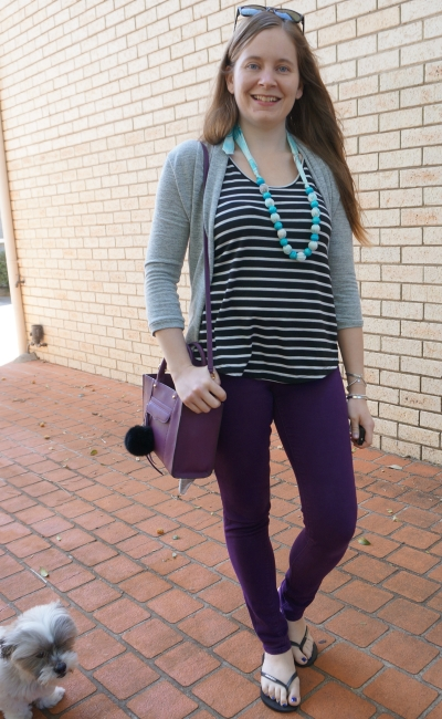 windy spring style purple skinny jeans stripe tank mini MAB bag grey cardigan | away from blue