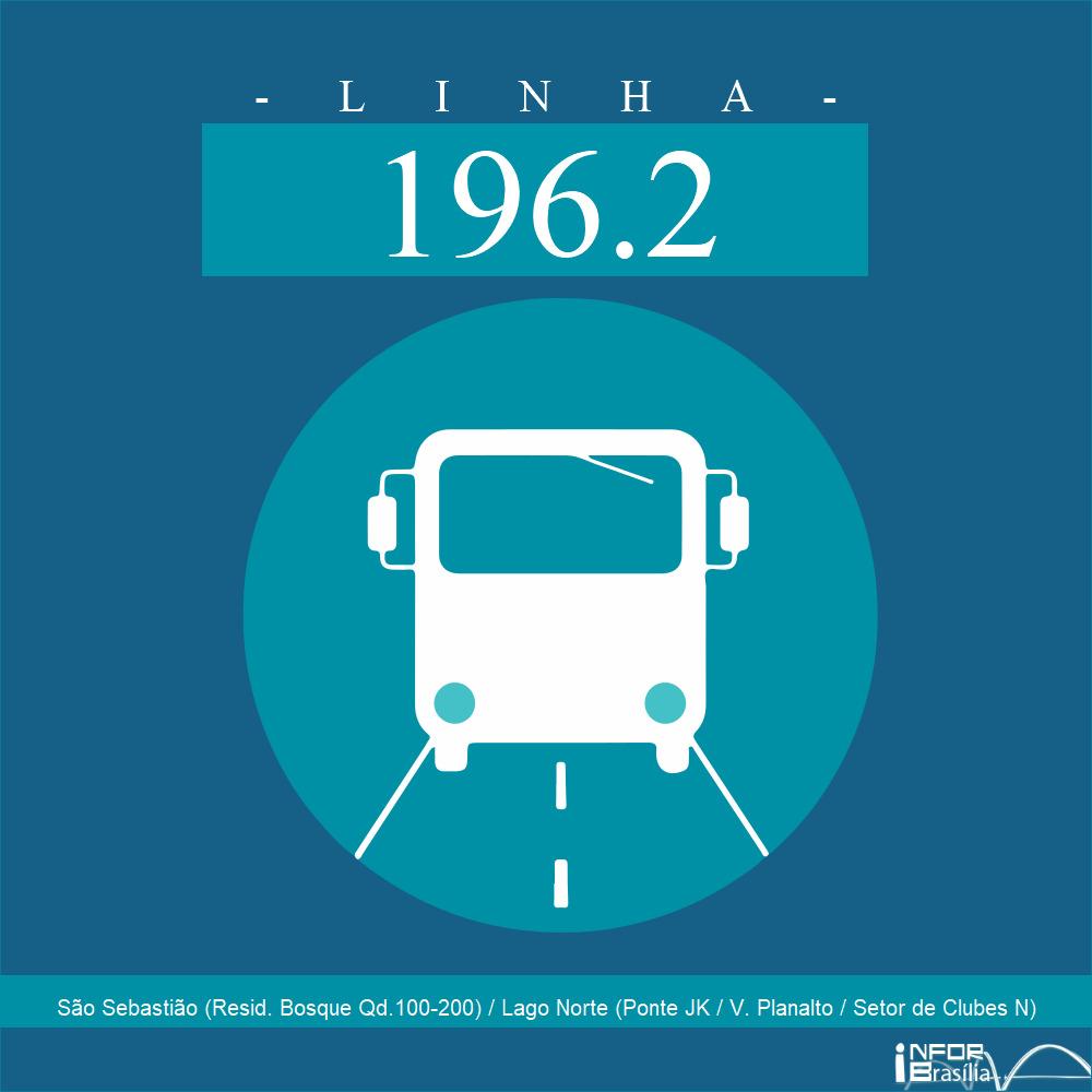 Horário de ônibus e itinerário 196.2 - São Sebastião (Resid. Bosque Qd.100-200) / Lago Norte (Ponte JK / V. Planalto / Setor de Clubes N)