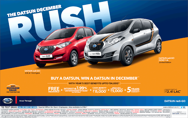 Datsun cars December rush | Amazing offers