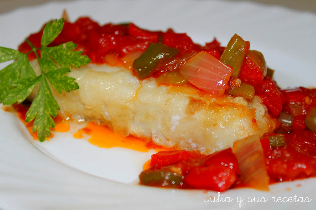 Bacalao con sofrito de verduras. Julia y sus recetas