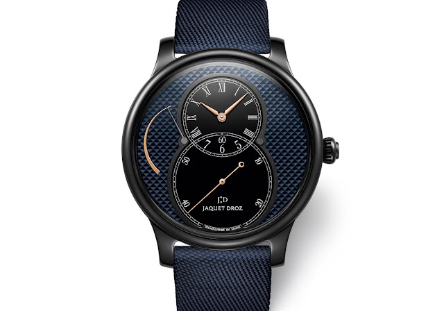 Jaquet Droz Grande Seconde Power Reserve Ceramic Clous de Paris with blue dial (ref. J027035542)