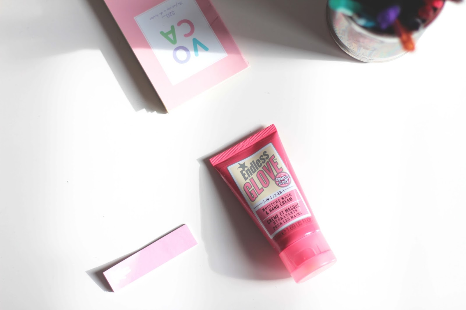 soap & glory endless glove 2 in 1 moisture mask and hand cream flatlay product shot