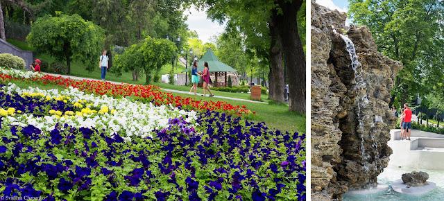 Квітник та водоспад у Стамбульському парку