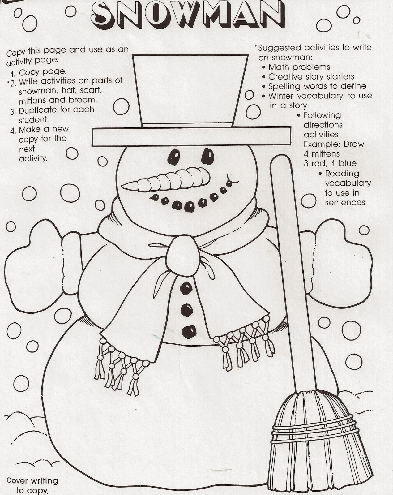 ELEMENTARY SCHOOL ENRICHMENT ACTIVITIES: SNOWMAN WORKSHEETS