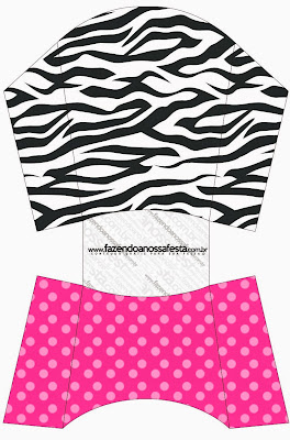 Zebra and Pink Free Printable Fries Box.