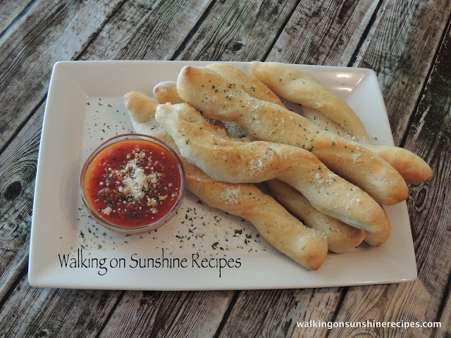 Garlic and Parmesan Cheese Breadsticks from Walking on Sunshine Recipes.