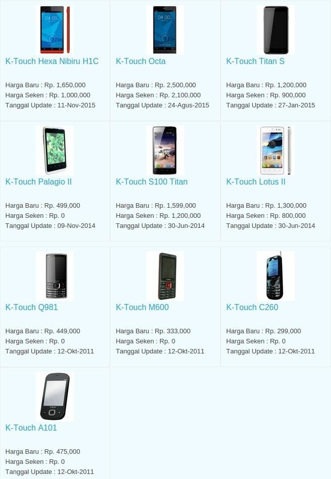 Daftar Harga Hp Terbaru K-Touch Mei 2016