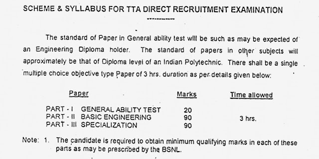 BSNL Junior Engineer (JE) & TTA Exam Syllabus
