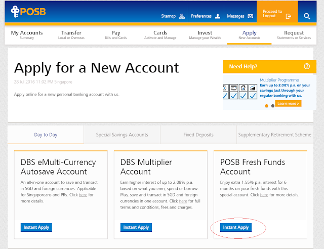 POSB Fresh Funds Account