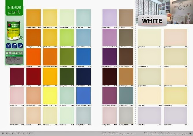 interior wall paint color chart