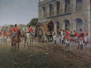 Los ingleses embarcan en carretas los caudales que habían sido depositados  en el Cabildo de Luján (Óleo de Francisco Fortuny,  Museo de Luján)