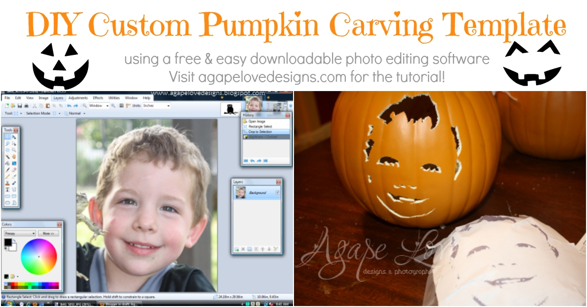 Turn photo into halloween picture or jack-o'-lantern stencil.