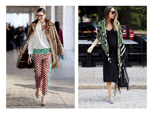 Сочетание пальто и платка с анималистическим принтом с брюками в горошек и туфлями в полоску