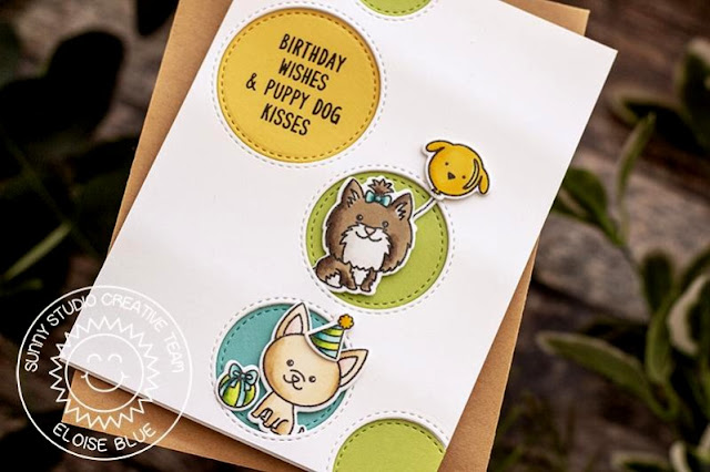 Sunny Studio Stamps: Puppy Dog Kisses Party Pups Staggered Circle Dies Puppy Themed Birthday Card by Eloise Blue