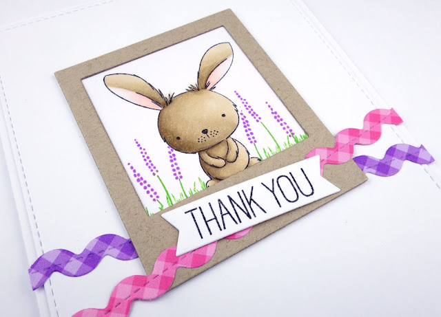 Cute bunny thank you card, using Sweetest Somebunny by MFT