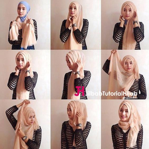 Kumpulan Gambar Tutorial Cara Memakai Hijab Rawis