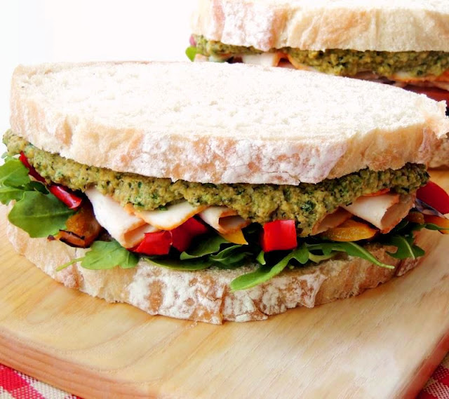 Turkey Sandwich with Zucchini Hummus and Grilled Peppers from www.bobbiskozykitchen.com