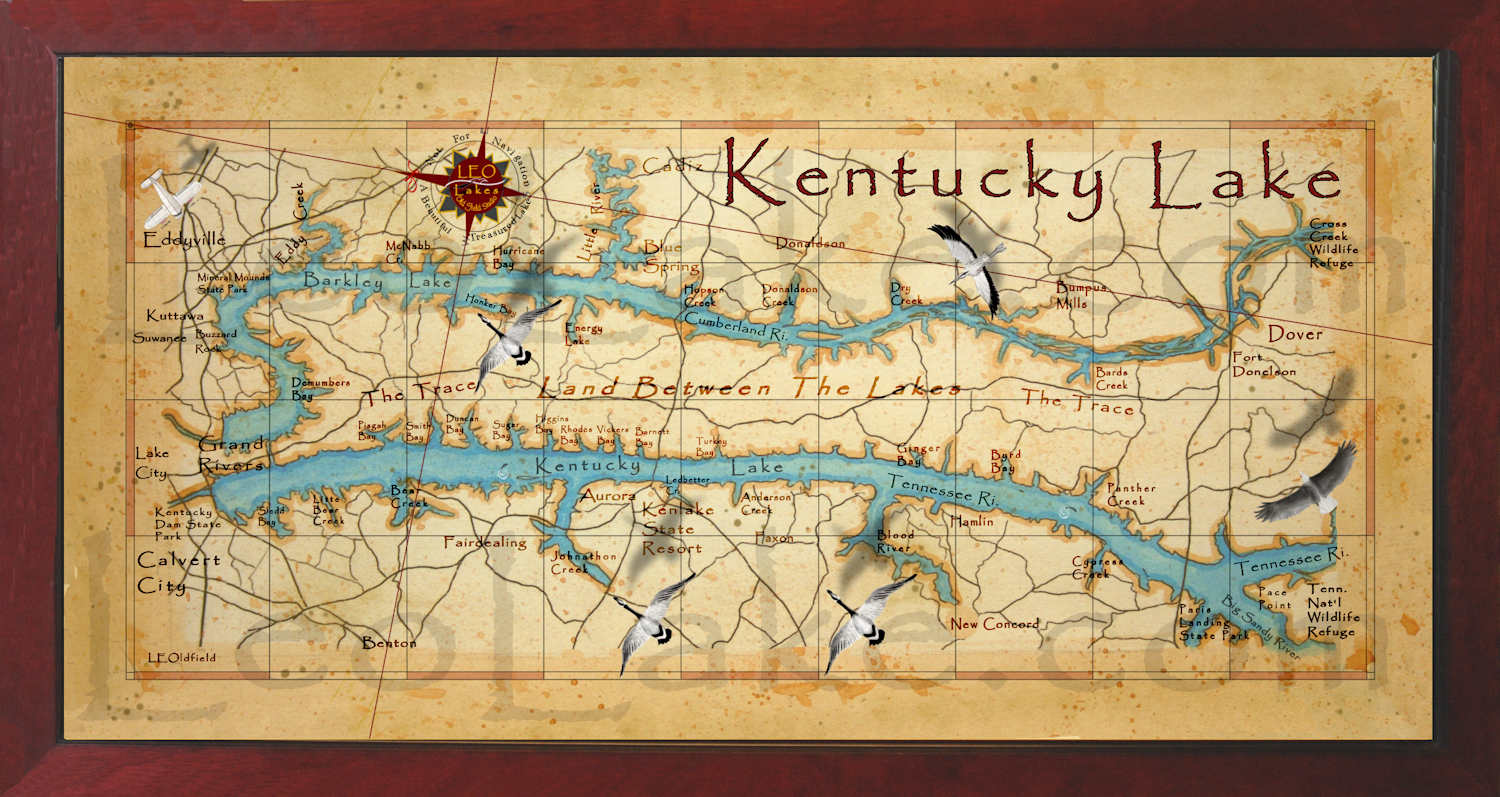 Old field Studio Beautiful Kentucky Lake Wall Map
