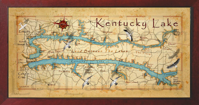 Old field Studio: Beautiful Kentucky Lake Wall Map