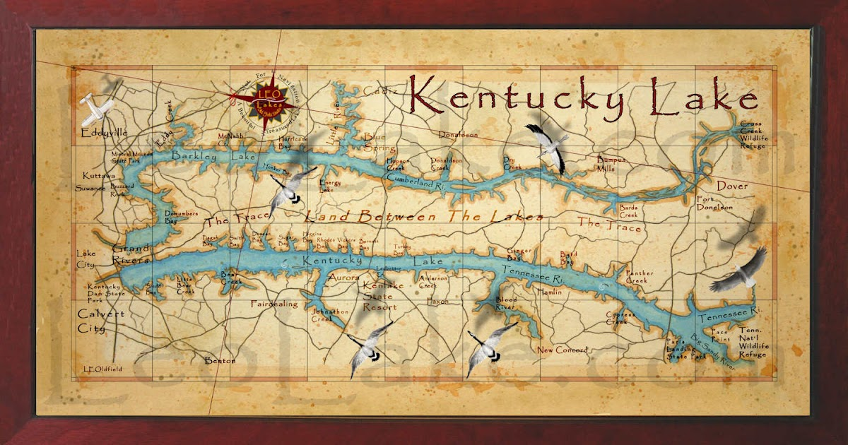 Old Field Studio Beautiful Kentucky Lake Wall Map - Kentucky lakes map