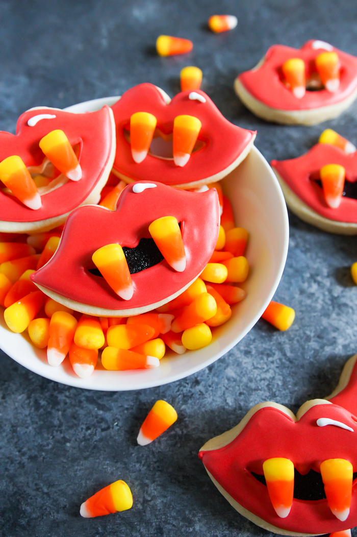 Candy Corn Fang Halloween Decorated Cookies