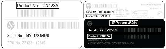 HP Model Number Sticker
