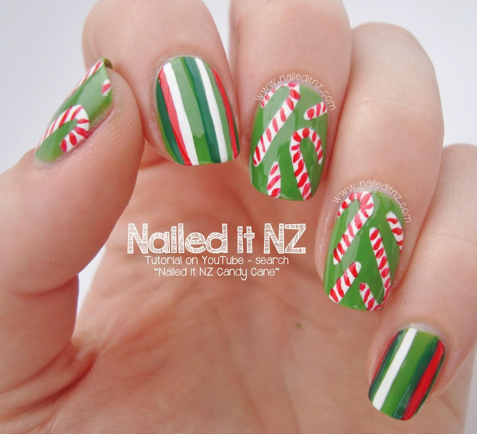 Christmas Nails Tutorial Youtube: Christmas Candy Nail Art Tutorial