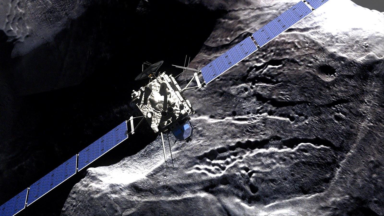 """Hình minh họa về phi thuyền Rosetta trong phim """"Chasing A Comet – The Rosetta Mission""""."""