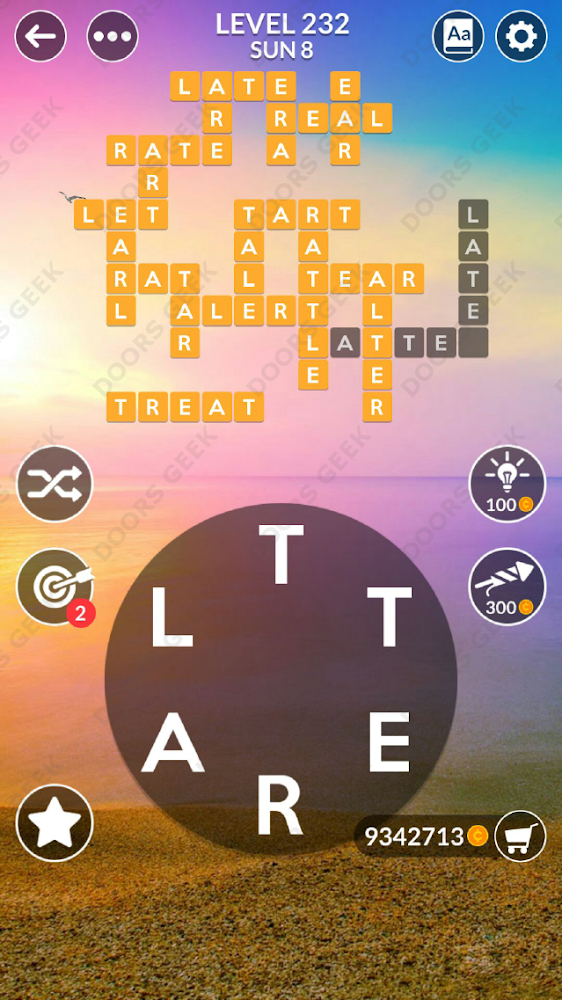 Wordscapes Level 232 answers, cheats, solution for android and ios devices.