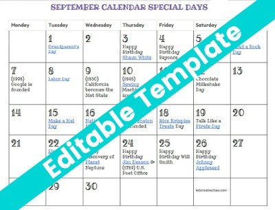 September Calendar of Special Days Holidays: Free Printable Calendar