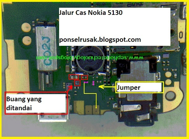 Picture how to jumper connector charge Nokia 5130