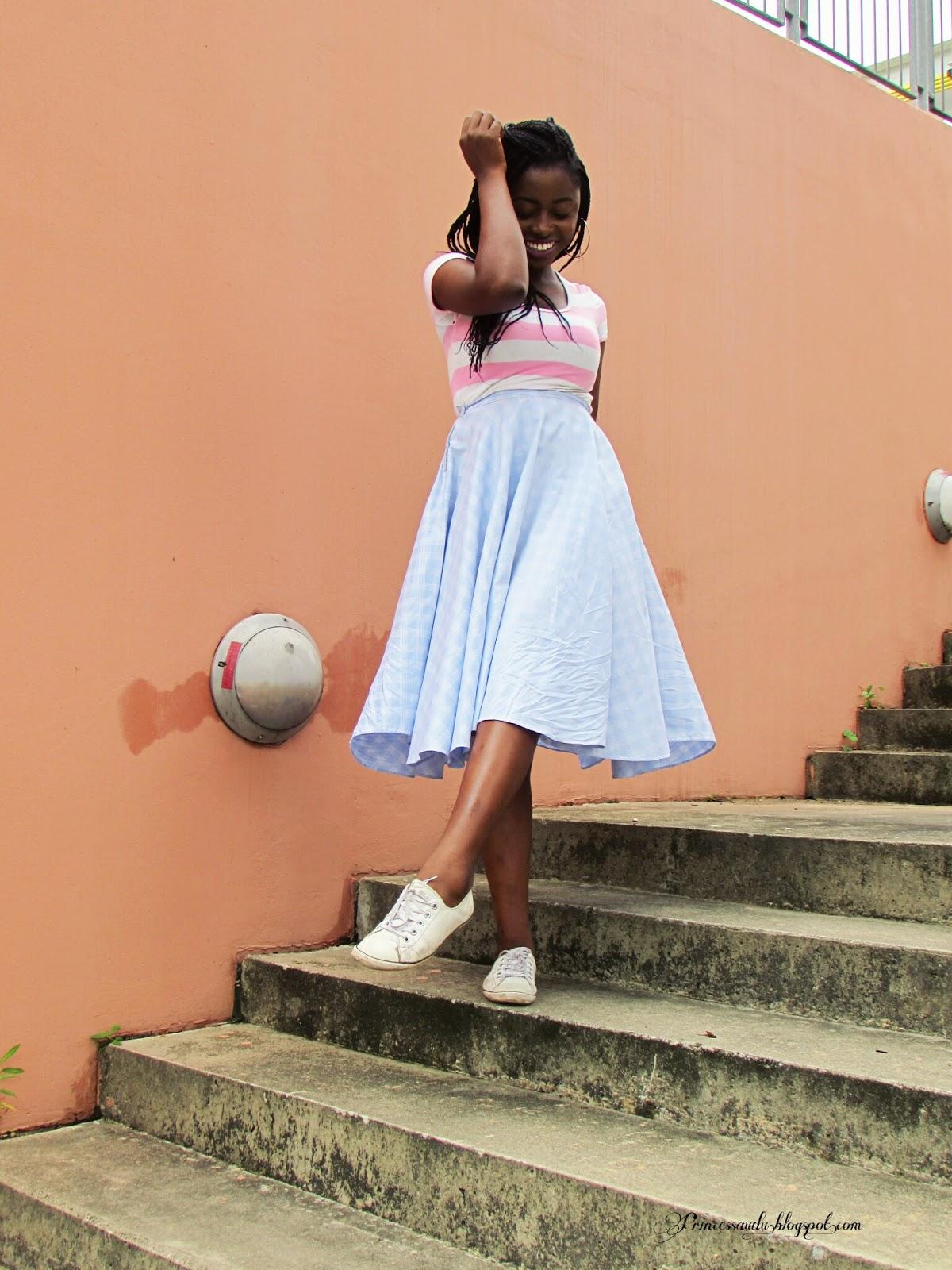 plaid midi skirt striped crop top princess audu