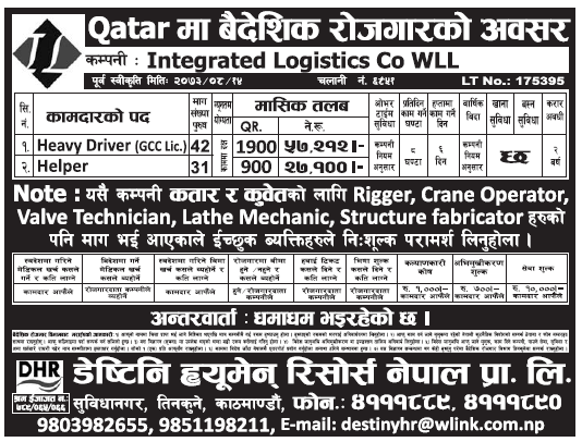 Jobs in Qatar for Nepali, Salary Rs 57,212